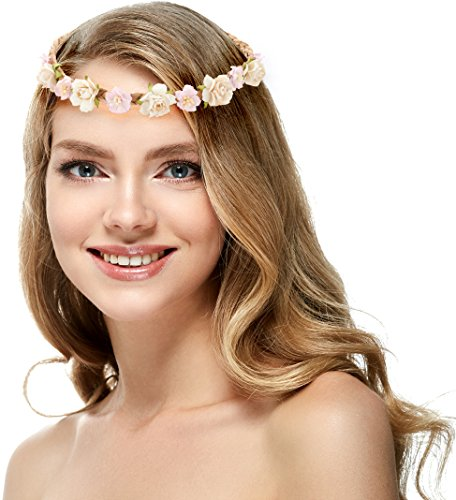 Price comparison product image Flower Garland Crown Wreath Boho Garland – Perfect for Wedding Festivals, Casual wears & Photography (Pastel)