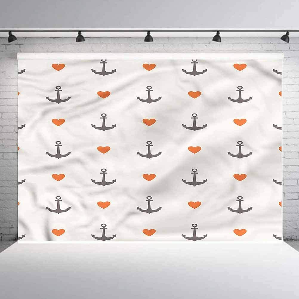 8x8FT Vinyl Backdrop Photographer,Anchor,Anchors and Hearts Background for Baby Birthday Party Wedding Graduation Home Decoration