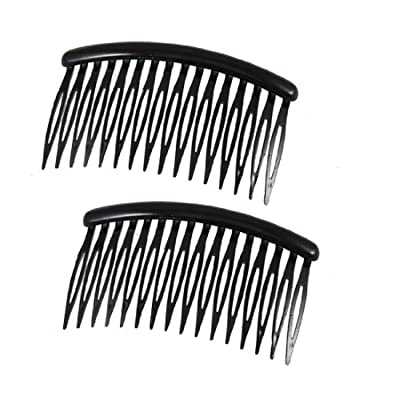 "uxcell Women 16 Teeth Black Plastic Comb Hair Pin Clip Hairdressing Clamp 3.1"" Long 2 Pcs"