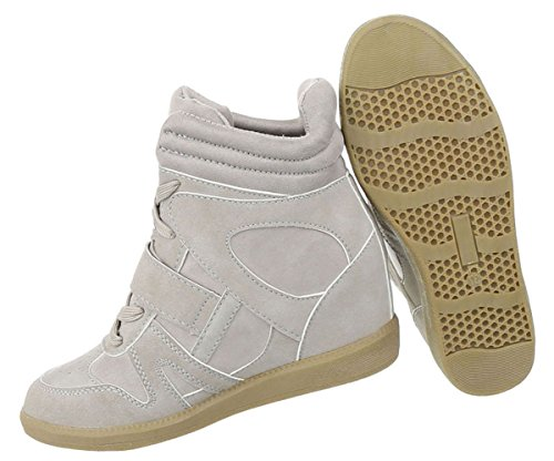 Elegante Damen Sneakers | Sneaker Wedges | Keilabsatz Schuhe | Wedge Sportschuhe | Basketball Style | Freizeitschuhe Klettverschluss | Schuhcity24 Hellgrau