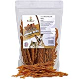 Pet Eden Chicken Jerky Dog Treats Made in USA Only, Hickory Smoked, 1 lb. of USDA Grade A Chicken Breast Strips. All Natural, Healthy Snacks for Dogs. No Preservatives, Grain Free