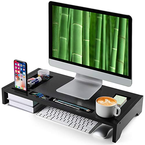 "Bamboo Monitor Stand Riser - 23"" Black Finished with Storage Organizer for Office Accessories and Desk Laptop Riser or PC Computer Stand for Home or Office by AMADA HOMEFURNISHING"
