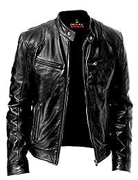 Men's Genuine Leather Jacket Cowhide/Lambskin Motorbike Casual Jacket Black