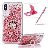 Hard Case for iPhone XS Max,Plastic Glitter Case for iPhone XS Max,Herzzer Luxury 3D Creative Design Rose Gold Liquid Quicksand Sparkly Crystal Clear Protective Skin Back Case with 360 Degree Ring Holder for iPhone XS Max 6.5 inch + 1 x Free Pink Cellphone Kickstand + 1 x Free Pink Stylus Pen