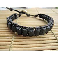 Rough Black Tourmaline Single Wrap Leather Bracelet - custom size 6.5 - 9.5