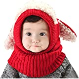 Spring Fever Unisex Baby Winter Hat Dog Earflaps Knit Scarf Crochet Cap Soft and Warm Red One Size