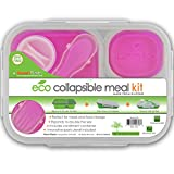 Smart Planet Large 3-Compartment Eco Silicone Collapsible Lunch Box, Pink