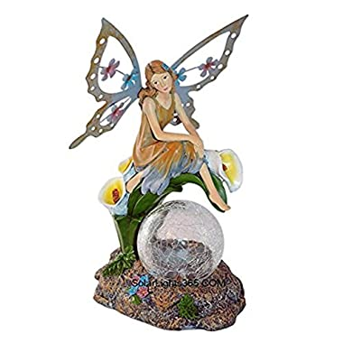 Solaration™ Fairy on Calla Lilies Solar Light with Crackle Glass Globe, 11-Inch