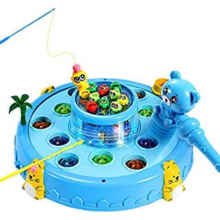 2 in 1 Interactive Whack A Mole Game&Magnetic Fishing Toy for Toddlers-Learning,Early Developmental Toy-Fun Gift for Age 2,3, 4, 5, 6 Years Old Boys&Girls-2 Hammers Included (Blue)