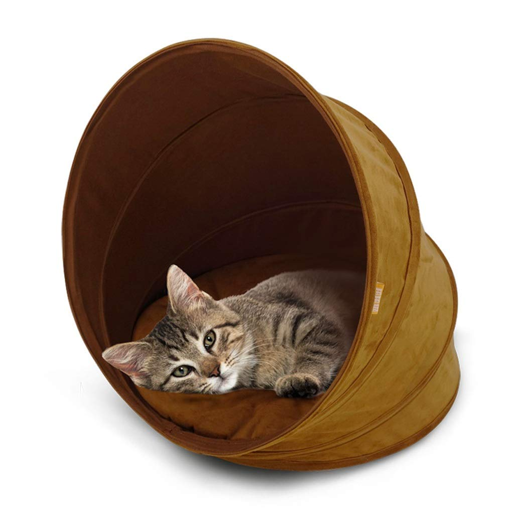 A ZHPRZD Pet Bed Suede Cat Litter Warm Cat Tent with Cushion Cat Toy for Easy Storage and Folding, Spiral Design (color   A)
