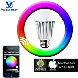 Victorstar Smart Bulb / Bluetooth 4.0 LED RGBW Bulb By APP Operation works with Apple iPhone, iPad and Android Phone / RGB+Warm White 3000K Base E27 110V
