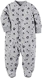 Baby Boys Fleece Zip up Paw Print Sleep   Play