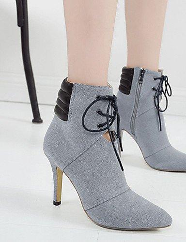 XZZ  Damenschuhe Damenschuhe Damenschuhe - Stiefel - Kleid - Vlies - Stöckelabsatz - Absätze   Plateau   Spitzschuh - Schwarz   Grau ca4a74