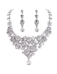 Ever Faith Women's Crystal Gothic Skulls Stars Statement Necklace Earrings Set Clear Silver-Tone