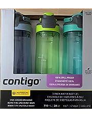Contigo AUTOSEAL Spill-Proof Water Bottles 24oz, BPA Free, Aqua, Lagoon, Vib Lime