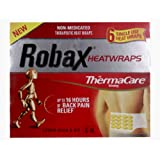 Robax Heat Wraps with ThemaCare for Lower Back & Hip S-XL (6 Single Use Heat Wraps)