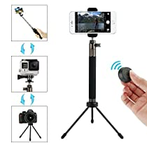 Selfie Stick Tripod with Bluetooth Remote Foldable Extendable Handheld Monopod for Gopro/Camera/iPhone 8/iPhone 8 Plus/iPhone X/iPhone 7/iPhone 7 Plus / Galaxy Note 8/S8/S8 Plus & Smartphone