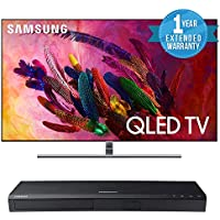 "Samsung QN75Q7F Flat 75"" QLED 4K UHD 7 Series Smart TV 2018 Bundle with Samsung UBD-M7500/ZA 4K UHD Blu-Ray Player + One Year Extended Warranty"