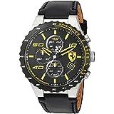 Scuderia Ferrari Men's Stainless Steel Quartz Watch with Leather Calfskin Strap, Black, 0.63 (Model: 830360)