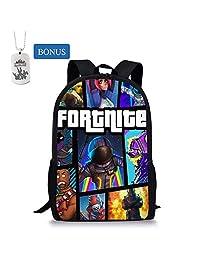 School Bags Knowooh Fortnite Games Pattern School Backpack for Girls Orthopedic Schoolbag Backpacks for Kids (Colorful, One Bag)