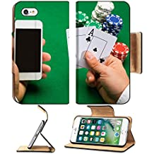 MSD Premium Apple iPhone 7 Flip Pu Leather Wallet Case casino online gambling technology and people concept close up of poker player with IMAGE 34814817
