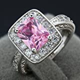 New Women Jewellery Silver Cut Pink Sapphire Gemstone Rings Sz 6-9 LS (6#)