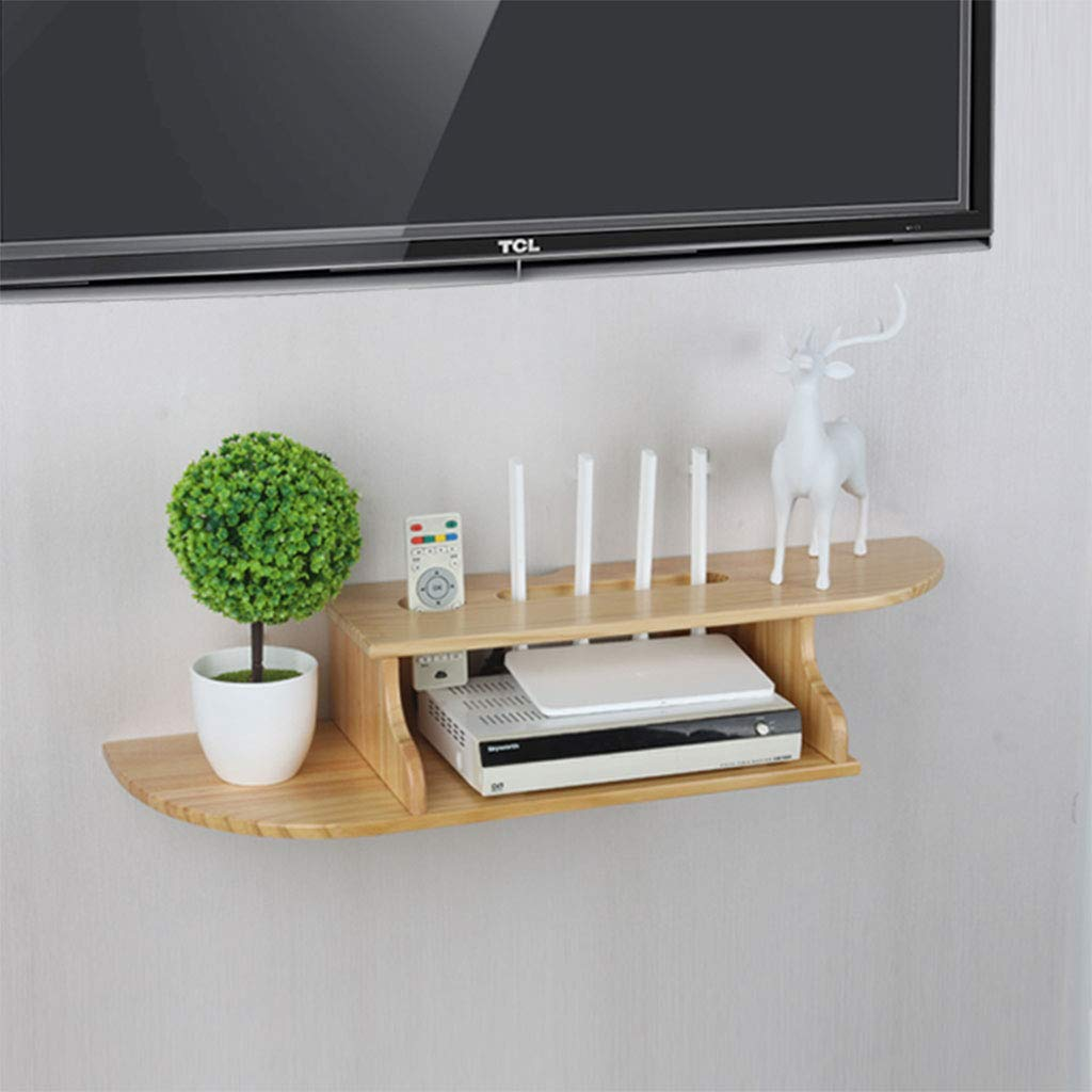 Primary color 72cm Wooden Router Storage Box Wall-Mounted TV Wall Cabinet Set Top Box Storage Rack Wire Finishing Rack (color   White, Size   72cm)