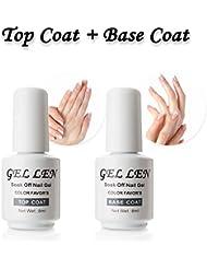 Gellen Top Coat And Base Coat for Gel Polish - Long lasting Shine Finish, 0.33 fl oz Each Bottle