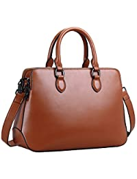 Heshe Leather Womens Handbags Totes Top Handle Bags Shoulder Bag Satchel for Ladies with Long Cross Body Strap Structured Designer Purses