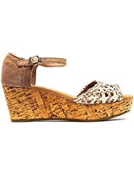 TOMS Womens Woven Platform Wedge Stucco Satin Size 8