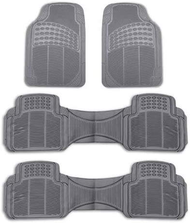 FH Group F11306 Liners Trimmable Vinyl Car Floor Mats (Gray) 3 Row – Universal Fit for Cars, Trucks, SUVs