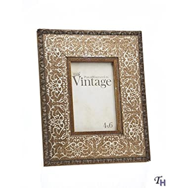 Philip Whitney 4x6 Rugged Vintage Wooden Gold Scroll Picture Photo Frame Standing Vertical or Horizontal