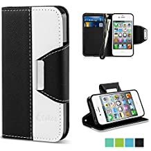 iPhone 4 Case,Vakoo iPhone 4 Flip Cover Premium PU Leather Wallet Credit Card Holder Folio Stand Case for Apple iPhone 4 4S With a Wrist Strap – Black White
