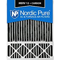 Nordic Pure 20x25x5 (4-3/8 Actual Depth) Honeywell Replacement Pleated MERV 12 Plus Carbon Ac Furnace Air Filter, Box of 1