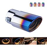 DSYCAR Universal Stainless Steel Roasted Blue Car Exhaust Tail Muffler Tip Pipe Fit Pipes - Fit pipe Diameter 1 1/2 inch to 2 1/4 inch - Free 4 Valve Stem Caps (Straight:5.5'' X 3.4'')