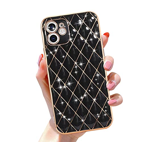 Gimigo Designed for iPhone 12 Case for Women/Girl, Cute Sparkle Luxurly Plating Lattice Design, Full Camera Lens Protection + Shockproof Edge Bumper TPU Cover Case for iPhone 12 [6.1 inches] -Black
