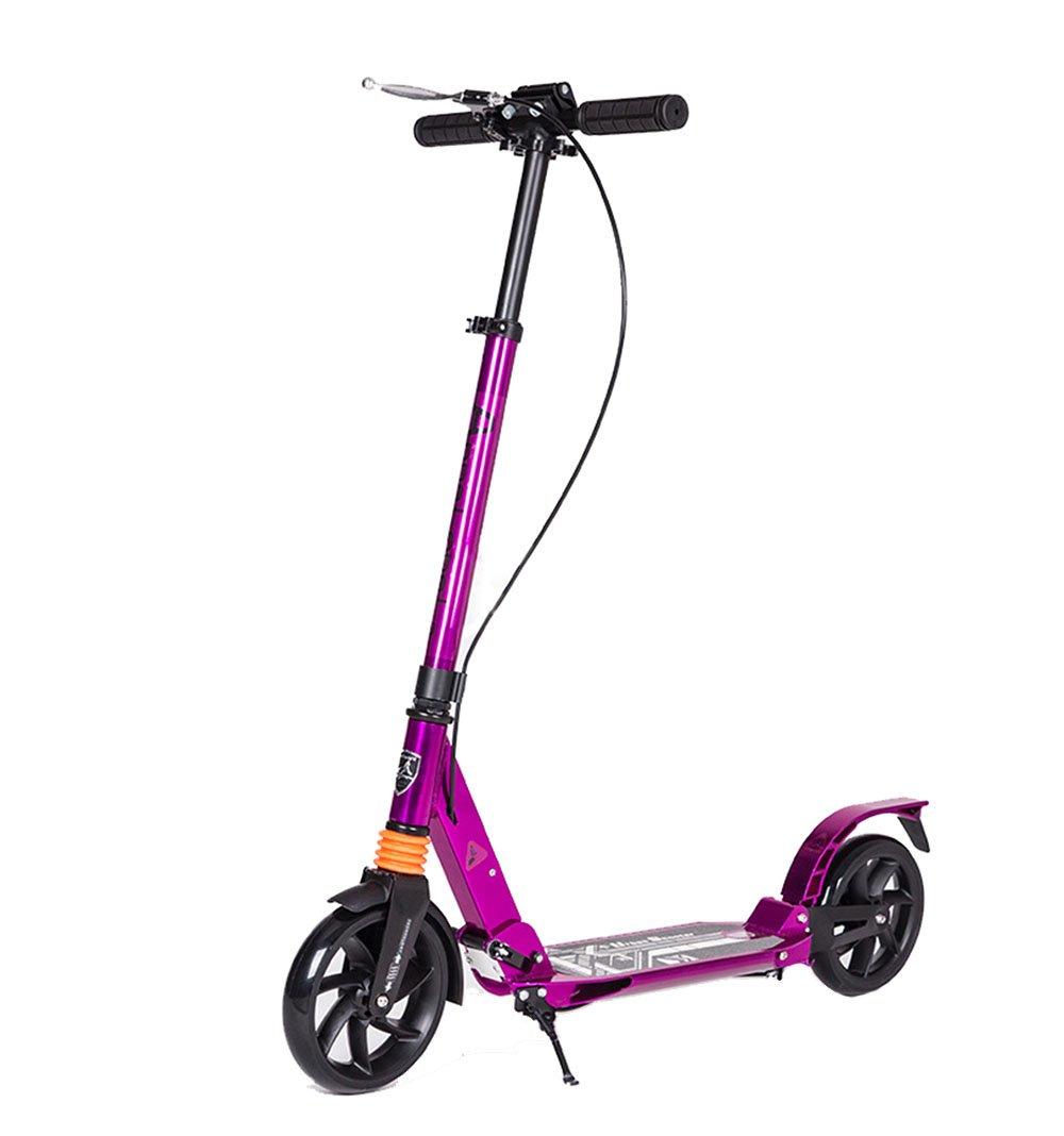 キックスクーター 大人向けのスクーター|調節可能な折りたたみ式、8歳までの子供向けのアルミニウム合金通勤スクーター、スムーズ&高速ライドポータブル (色 : 紫の) 紫の