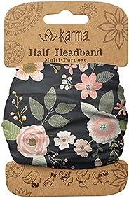 Karma Gifts Women's Half Headband, Accessory, Black Floral, No
