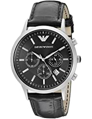 Emporio Armani Mens AR2447 Dress Black Leather Watch