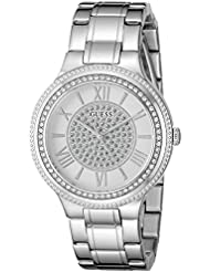 GUESS Womens Stainless Steel Crystal Accented Watch, Color: Silver-Tone (Model: U0637L1)