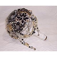 Sable Shimmer Brooch Bridal Wedding Bouquet Black Clear Rhinestones