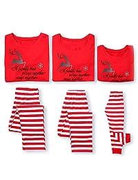 JJAI Family Christmas Pajamas Set Matching Men, Women Kids PJs Warm Tops Pants