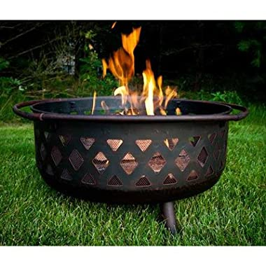 Sunnydaze Large Bronze Crossweave Fire Pit, 36 Inch Diameter
