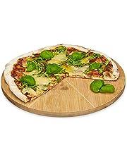 Relaxdays Pizzabord van bamboe, diameter 33 cm, snijplank van hout, snijbestendig pizzabrett met 6-voudige indeling voor gelijkmatig grote stukken, houten bord voor pizza, natuur
