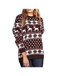 Womens Casual Long Sleeve Reindeer Print Ugly Christmas Sweater Tunic Top KIKOY