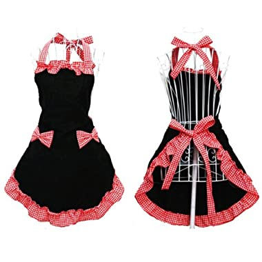 Hanerdun® Womens Apron Ladies Cute Apron Fancy Maid Set Apron, Black Bowknot Apron With Pocket