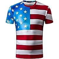 ZOMUSAR Mens Tee Shirts, Stylish Mens Striped American Flag Printed Casual Slim Short-Sleeved Shirt Top Blouse