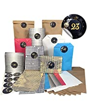 endlosschenken Adventskalender in de vorm van decoratieve, papieren cadeauzakjes met knijpertjes