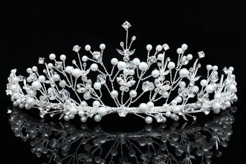 Handmade Butterfly Rhinestone Crystal Flower Pearl Bridal Wedding Tiara Crown