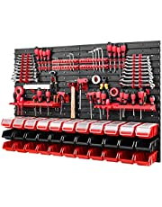 Gereedschapswand - 1152 x 780 mm - opslagsysteem SET gatenwand met gereedschapshouders en stapelboxen met deksel - wandrek werkplaatsrek opbergdozen (rood/zwart)